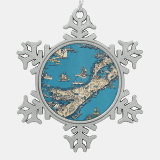 Vintage Old Map of the Bermuda Islands Snowflake Pewter Christmas Ornament