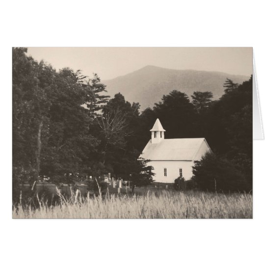 Vintage Old Mountain Church Thank You Note Card