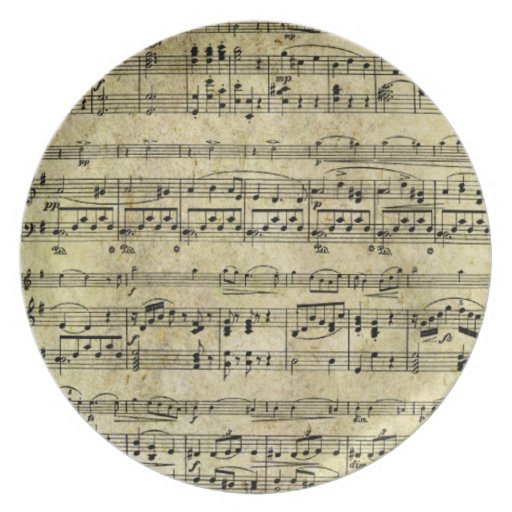 Vintage Old Music Notes Paper Texture Plate