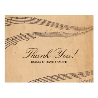 Vintage Old Music Notes Thank You Cards Postcard