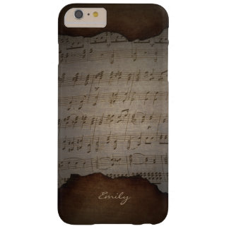 Vintage Old Music Sheet Custom Name Barely There iPhone 6 Plus Case