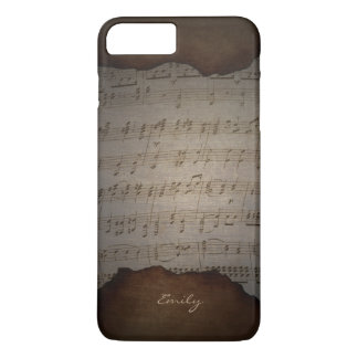 Vintage Old Music Sheet Custom Name iPhone 7 Plus Case
