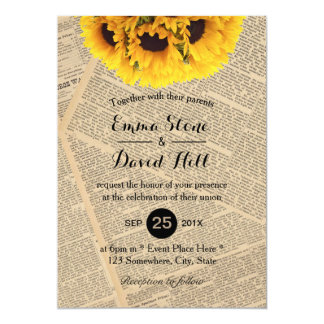 Vintage Old Newspaper Country Sunflower Wedding 13 Cm X 18 Cm Invitation Card
