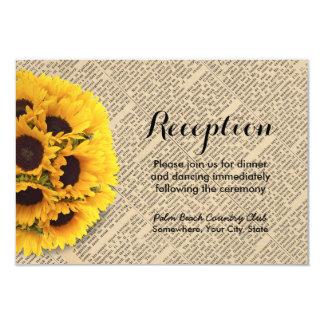 Vintage Old Newspaper Sunflower Wedding Reception 9 Cm X 13 Cm Invitation Card