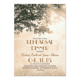 Vintage old oak tree & love birds rehearsal dinner card