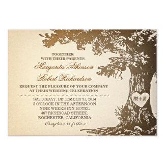 vintage old oak tree wedding invitations