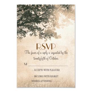 Vintage old oak tree wedding RSVP cards 9 Cm X 13 Cm Invitation Card