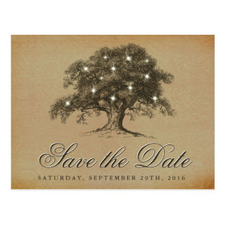 Vintage Old Oak Tree Wedding Save The Date Postcard