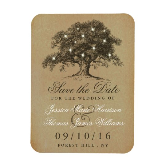 Vintage Old Oak Tree Wedding Save The Date Rectangular Photo Magnet