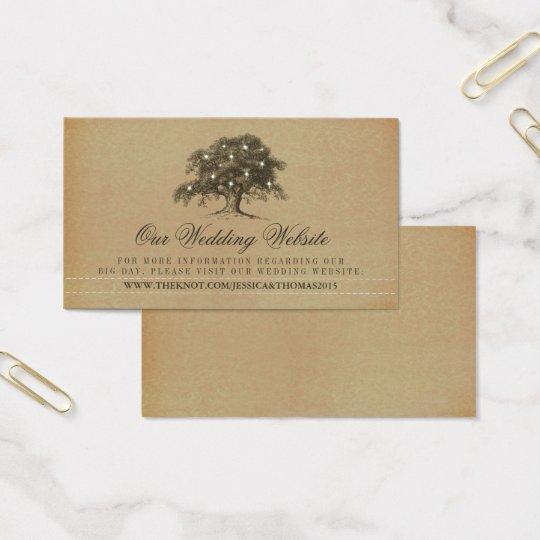 Vintage Old Oak Tree Wedding Website Business Card