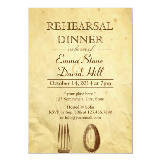 Vintage Old Paper Dining Tools Rehearsal Dinner 5x7 Paper Invitation Card