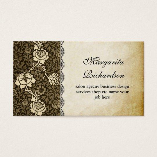 vintage old paper floral pattern business cards
