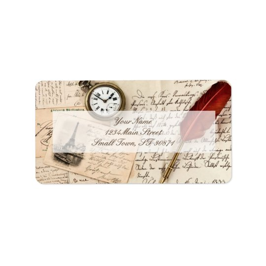 Vintage Old Paper Pen Watch Writing Stamp Postcard Address Label