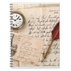 Vintage Old Paper Pen Watch Writing Stamp Postcard Notebook