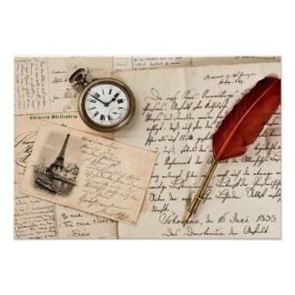 Vintage Old Paper Pen Watch Writing Stamp Postcard Poster
