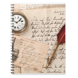 Vintage Old Paper Pen Watch Writing Stamp Postcard Spiral Notebook