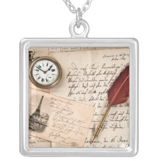 Vintage Old Paper Pen Watch Writing Stamp Postcard Square Pendant Necklace