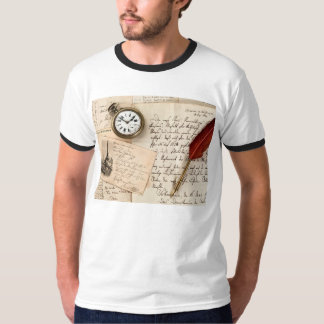 Vintage Old Paper Pen Watch Writing Stamp Postcard T Shirt