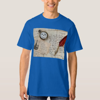 Vintage Old Paper Pen Watch Writing Stamp Postcard Tee Shirt