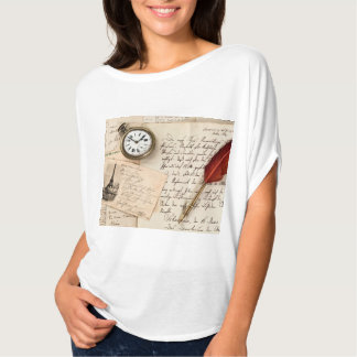 Vintage Old Paper Pen Watch Writing Stamp Postcard Tshirts