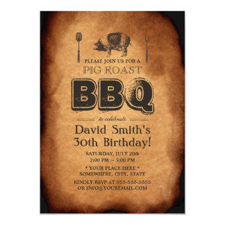 Vintage Old Paper Pig Roast BBQ Birthday Party Card