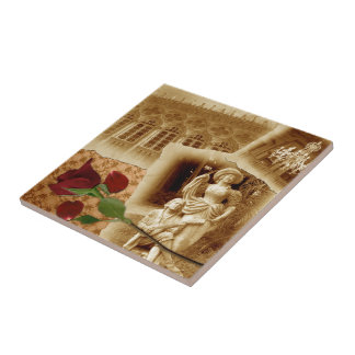 Vintage Old Photos Rose Petals Shabby Chic Trivet Ceramic Tile