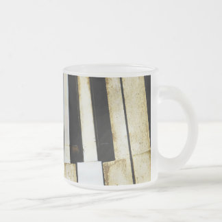 Vintage old piano keys frosted glass mug