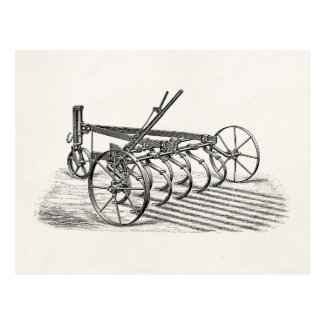 Vintage Old Plows Farm Equipment Agriculture Plow Postcard