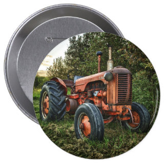 Vintage old red tractor 10 cm round badge