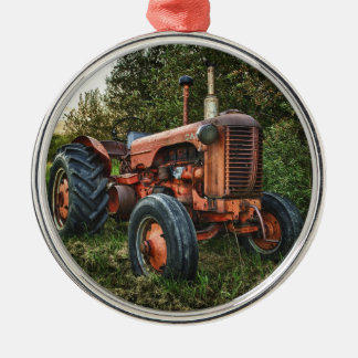 Vintage old red tractor christmas ornament