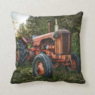 Vintage old red tractor cushion