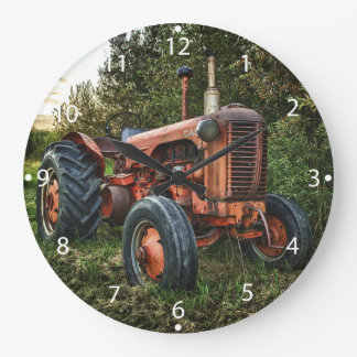 Vintage old red tractor large clock