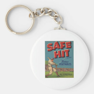 Vintage Old Retro Crate Product Goods Label Veggie Basic Round Button Key Ring