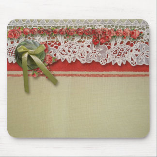 Vintage Old Roses and Lace Mouse Pad
