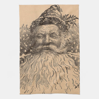Vintage Old Saint Nick Tea Towel