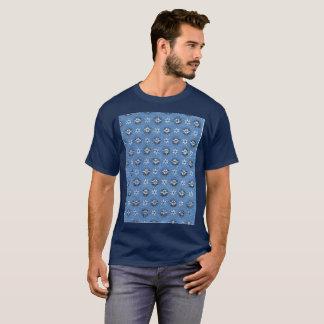 Vintage Old School t-shirt Pattern Blue flower