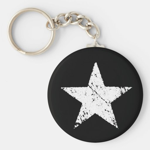 vintage old scratched paint star army symbol keychains