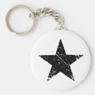 vintage old scratched paint star army symbol key chain