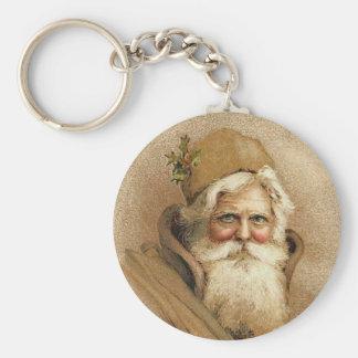 Vintage Old St. Nick Christmas Key Ring