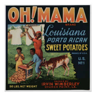 Vintage Old Sweet Potatoes Fruit Crate Labels Poster