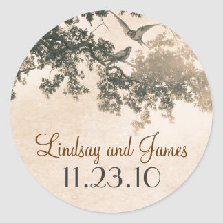vintage old tree love birds wedding stickers