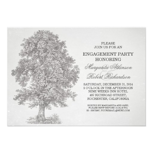 vintage old tree rustic engagement party invites