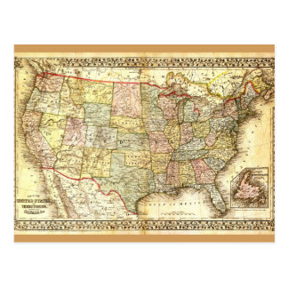 Vintage Old United States USA General Map Postcard