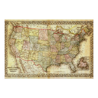 Vintage Old United States USA General Map Poster