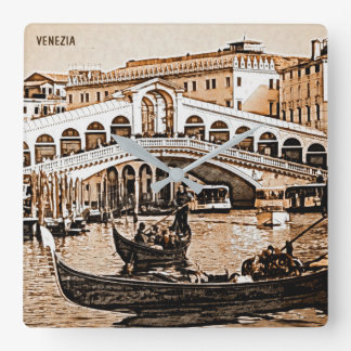 Vintage Old Venice Rialto Bridge Gondola Etching Square Wall Clock
