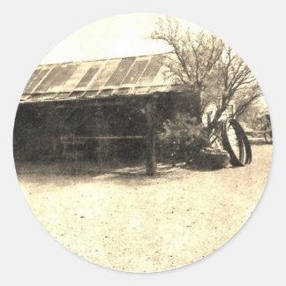 Vintage Old West Cabin Round Sticker