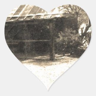 Vintage Old West Cabin Heart Sticker