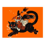 Vintage Old Witch Riding a Black Cat