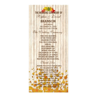 Vintage Old Wood Fall Wedding Program Custom Custom Rack Card