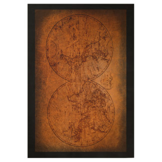 Vintage Old World Antique Map Travel Classic Wood Poster